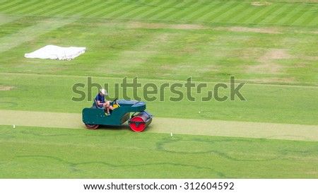 Cricket Pitch Roller - stock photo