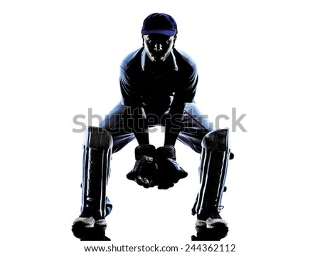 Cricket player reciever in silhouette shadow on white background - stock photo