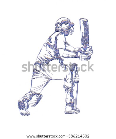 Cricketer sketch in 3d on isolated white background.