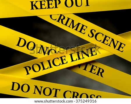 Crime area restricted by several yellow police line tapes - stock photo