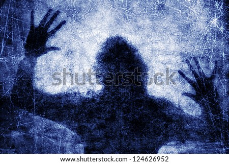 Crime background - dark silhouette of screaming human in danger