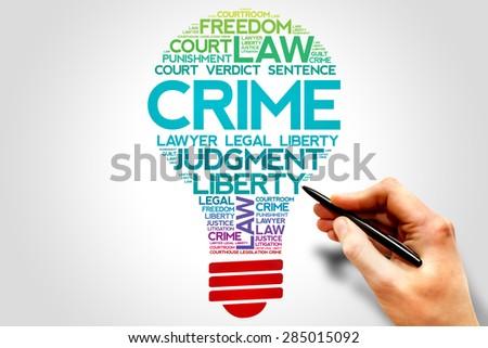 Crime bulb word cloud concept - stock photo