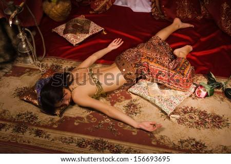 Crime Scene Imitation Lifeless Woman Traditional Stock