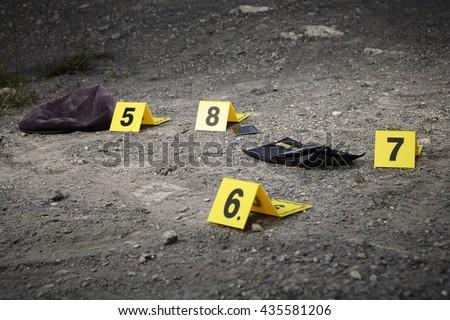 Crime scene investigation - munbering of evidences - stock photo