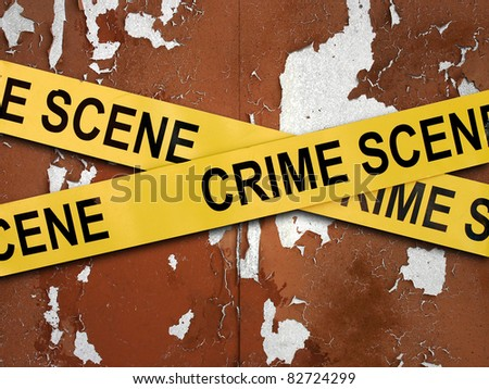 crime scene on old wall - stock photo