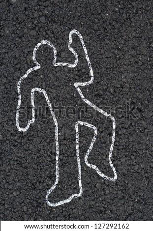 Crime scene silhouette background - stock photo