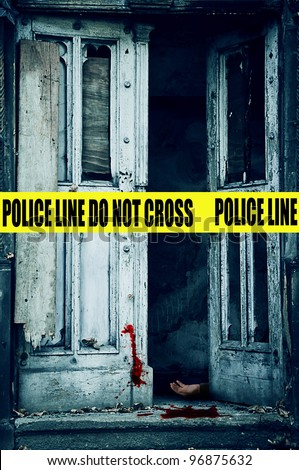 crime scene with an old open door, dead person and blood - stock photo