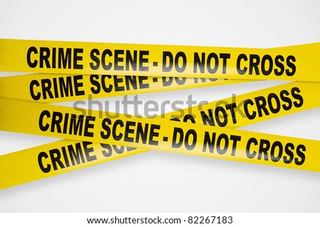 Crime scene yellow tapes with clipping path - stock photo