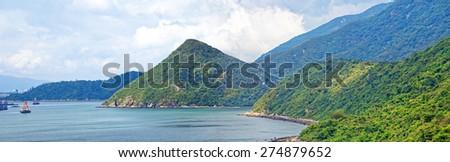 Crimea mountains and Black sea landscape, good sunny day - stock photo