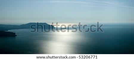 Crimea mountains and Black sea landscape, good sunny morning - stock photo