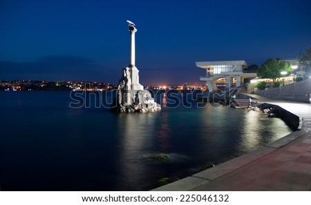 CRIMEA, SEVASTOPOL, JUNE 13, 2014:Monument to the scuttled ships in the night. Sevastopol, Crimea - stock photo