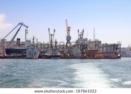 CRIMEA, SEVASTOPOL - May 10, 2009: Place repair of large seagoing ships in the bay of Sevastopol