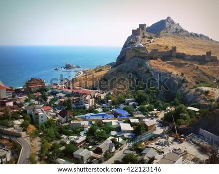 Crimea - the Black Sea city of Sudak - stock photo