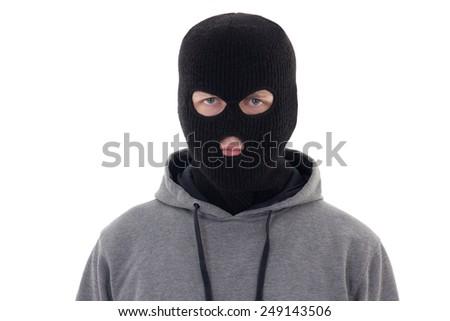 criminal man in black mask isolated on white background - stock photo
