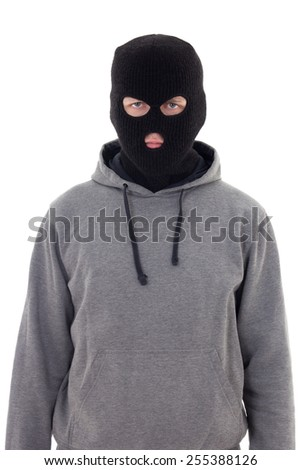 criminal man in mask isolated on white background - stock photo