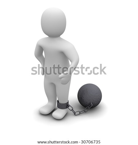Criminal with ball. 3d rendered illustration isolated on white.