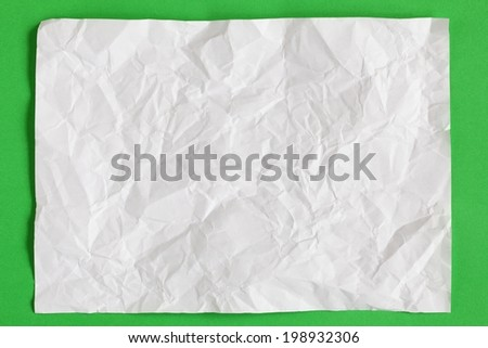 crimp White Paper texture sheet background green - stock photo