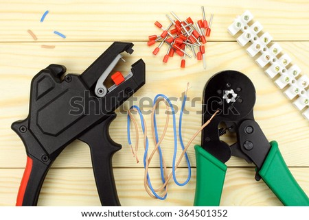 Crimping tool for wires - stock photo