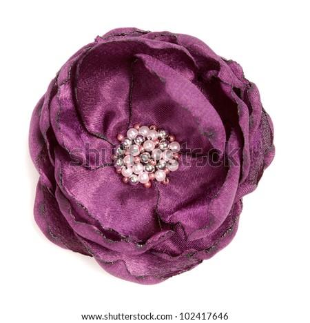 Crimson flower handmade fabric, isolate on white - stock photo
