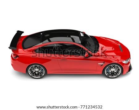Crimson Red Modern Sport Racing Car   Top Down Side View   3D Illustration
