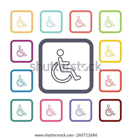 cripple flat icons set. Open colorful buttons  - stock photo