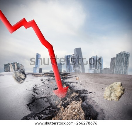 Crisis as big break economic and financial - stock photo