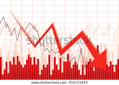 Crisis chart with downwards arrow - great for topics like financial problems, recession, debt, inflation, market collapse etc. - stock photo