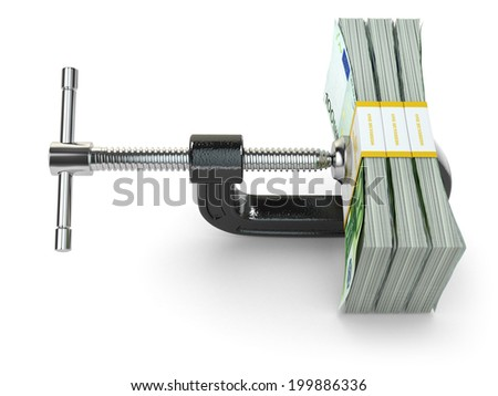 Crisis. concept of reducing costs. Vise and euros. 3d - stock photo