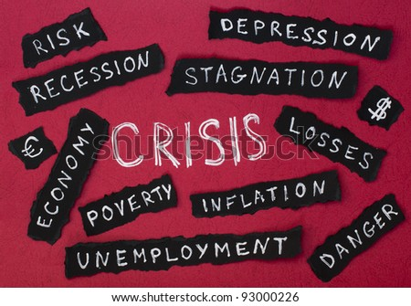 Crisis concept white text on red background. White texts on black background - stock photo
