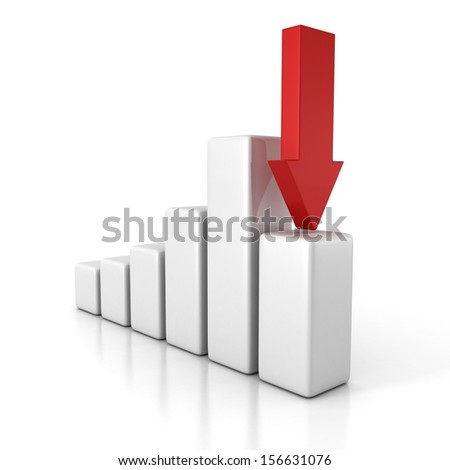 crisis financial bar diagram with arrow pointing down - stock photo