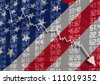 Crisis in USA - Shares Fall Graph on the Flag - stock photo