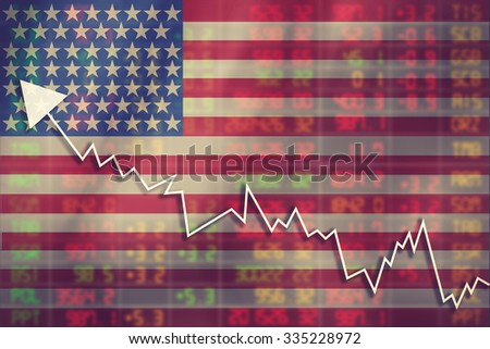 Crisis in USA - Shares Fall Graph on United States of America Flag with Business man pushing on a touch screen interface analyze solution ideas concept design vintage color - stock photo