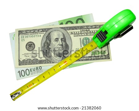 crisis: measuring tape, us dollar and euro currency isolated on white - stock photo