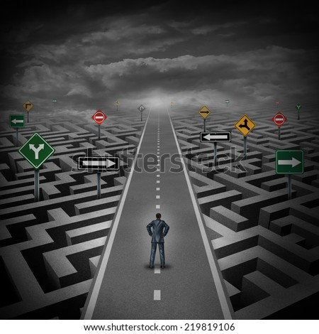 Crisis solution concept as a businessman standing on a straight road through a maze or labyrinth with confusing direction road signs as a metaphor for the answer to a riddle in business and life. - stock photo