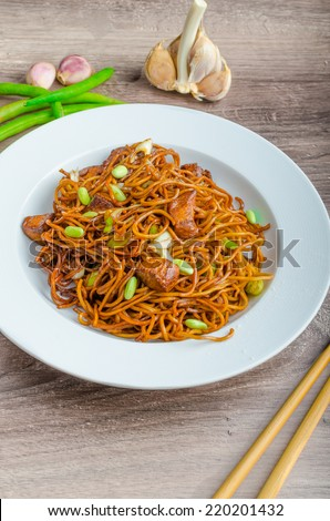 Crisp noodles with chicken and soy sauce topped with scallions and garlic - stock photo