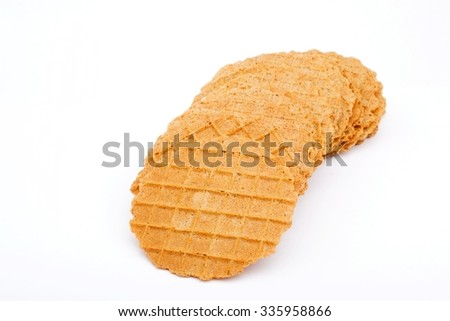 crisp Wafer isolated on white - stock photo