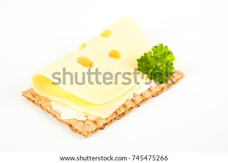crispbread with cheese and white background