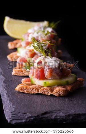 crispbread with tuna  - stock photo