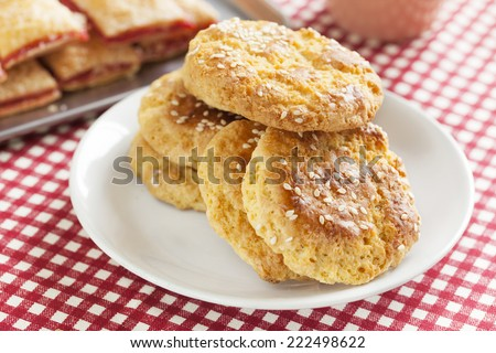 crispy biscuit with seasame for refreshment - stock photo