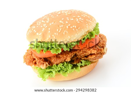 crispy chicken burger on white background - stock photo