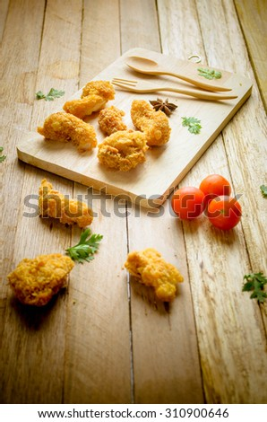 Crispy Chicken On the wooden - stock photo