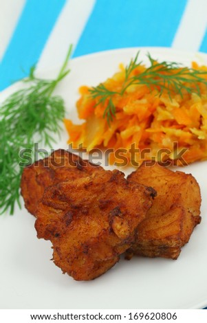 Crispy cod pieces, close up  - stock photo