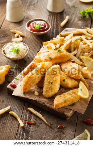 Crispy Fish and Chips with Tartar Sauce - stock photo