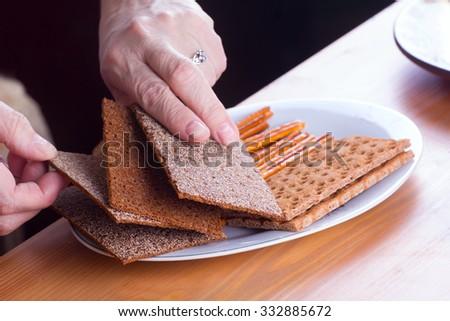 crispy food on table crispbread - stock photo