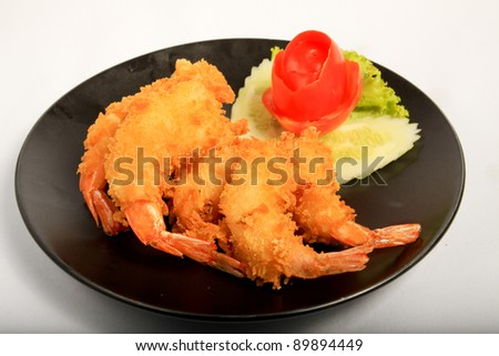 Crispy fried shrimp ready to be serve (Tempura) - stock photo