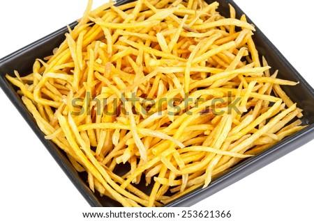 Crispy fried Sweet Potato Stick on disk on white background - stock photo