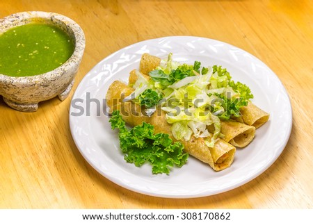 Crispy Fried Tacos - stock photo