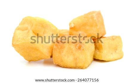 crispy fried tofu isolated on white  - stock photo