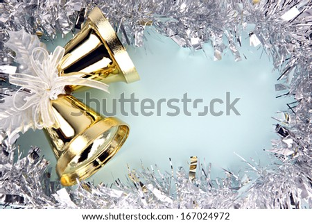 Crispy golden bells and decorations silver ribbon can use it in Christmas and New Year.