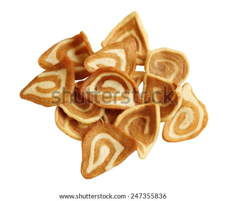 Crispy Pig Ear Biscuits cookies isolated on white background - stock photo